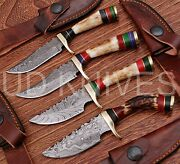 Lot Of 100 Knives   6 Inch Custom Damascus Steel Hunting Knife  stag Antler