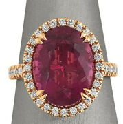 1.10ct Natural Diamond 14k Solid Yellow Gold Ruby Wedding Cocktail Ring Size 7