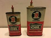 Vintage 3 In One Oil Tin Cans Handy Oiler 3 Oz 9 Oz. Not Empty