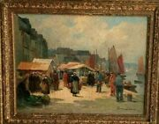 Eugene Demester Oil On Canvas Harbor And Fish-market View 15.5 X 18.5.