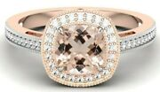 1.80 Ct Aaa Peach Morganite Solitaire Ring With Diamond Engagement Wedding Ring