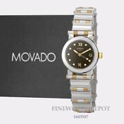 Authentic Movado Vizio Womenand039s Black Dial Two Tone Stainless Steel Watch 1603587