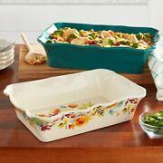 New Pioneer Woman Willow Ruffle 2-piece Stoneware Baker Set - Hard To Find