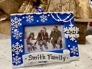 Personalized Christmas Tree Ornament 2021 Family Picture Frame Snowflake Snow❄️