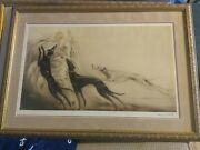 Antique Louis Icart Coursing Ii Dry Point Etching Signed And Stamped