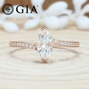 Gia Certified H Color Marquise Brilliant Diamond 14k Gold Gift Ring Kdl8858