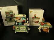 Artist Signed Rare 2012 Hallmark Mrs.claus's Stove And Kitchen Table Ornament Set