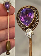 Antique Victorian 14k Rose Gold Amethyst And Diamond Hat Pin Stick Pin 2-5/8andrdquo1.8g