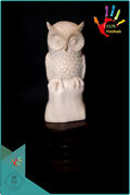 6'' Owl Statue Real Cow Skulls Carved Antique Collectible 100 Handmade