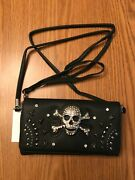 Skull And Crossbones And Studs Crossbody Wallet - Holds A Cell - 2 Straps - Black