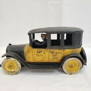 Vintage Arcade Reproduction Cast Iron Yellow Cab 3333 Taxi With Driver 9 Inches
