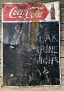 Vintage 1950s Coke Coca Cola Tin Metal Chalkboard Lunch Counter Gas Station Sign