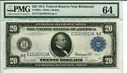 Fr 983a 1914 20 Federal Reserve 64 Choice Uncirculated Finest Known Pop2/0
