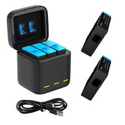 Telesin 3 Slot Storage Charger Box +2 Battery For Gopro Hero 9 Black Accessories