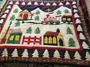 Vintage Handmade Cotton Quilt Patched Christmas Themed Lovely Gift Idea
