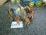 8 Chubby Cowboys And 3 Chubby Horses Marx 1950s Figures Western Town Ranch Lot 4