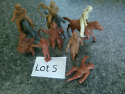 8 Chubby Cowboys And 3 Chubby Horses Marx 1950s Figures Western Town Ranch Lot 5