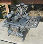 Vintage Mini Crescent Cast Iron Toy Wood Stove Salesman Sample For Parts As Is