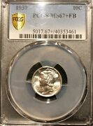 1939 Pcgs Ms67+ Fb Mercury Dime