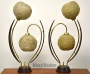Walnut And Brass Mid Century Modern Flower Lamps- A Pair