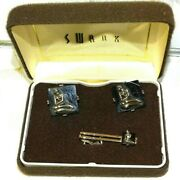 Rare Vintage 1950s Swank Nude Cufflinks And Tie Tack Onyx And Sterling 3 D Design