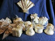 Lot Of 22 White And Gold Christmas Ornaments Anniversary Decorations