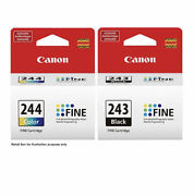 Genuine Canon Pg-243 Black Or Cl-244 Color Ink Cartridge. New