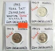 1943 Year Set Gem Uncirculated Wartime Silver Jefferson Nickels Free Shipping