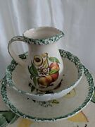 Vintage Himark 3 Piece Set Large Decorative Pitcher And Wash Basin And Bowl Italy