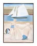 Large Vintage Harris Strong Gallery Beach Painting Titled Bathers Signed Warren