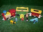 Vintage 1973 Fisher-price 991 Little People Family Circus Train Pull Toy Set