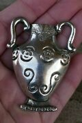 Vintage Taxco Mexico Sterling Silver Bud Vase Pin / Brooch - 24.8 Grams