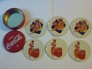 Complete Set Of 6 Coca Cola Vintage Coasters, With Case, 2 Different Patterns