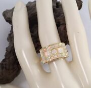 Vintage Jewellery Gold Ring With Opals Antique Deco Jewelry Large Size 9 Or S