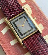 Tank Quartz Two Tone Black And Grey Roman Numeral Dial Gold Watch