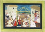 Hand Painted Sikh Miniature Painting Of Marriage Scene Gouache Artwork On Paper