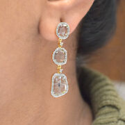 18k Yellow Gold Slice Diamond Pave Dangle Earrings Fine Womenand039s Day Gift Jewelry