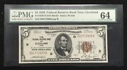 5 1929 Federal Reserve Bank Note Cleveland Pmg 64