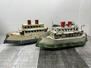 2 Vintage Antique Early Dayton Pressed Steel Hillclimber Friction Toy Boats