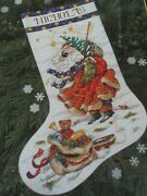 Windswept Santa Stocking Cross Stitch Christmas Kit 8496 Dimensions Collections