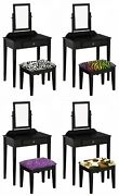 Vanity Black Finish Make Up Table With Mirror And Animal Print Covered Bench