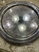 Vintage Leonard Silver Co. Large Footed Silverplate Butler Serving Tray