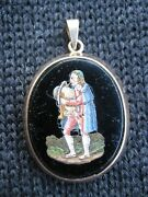 Fine Quality Antique Peasant Man With Bagpipes Micro Mosaic Gold Pendant