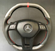 Mercedes W212 W204 W218 W207 Amg Style Steering Wheel Carbon Leather Red