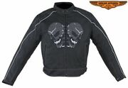 Menand039s Motorcycle Nylon Jacket With Multiple Pockets And Reflective Skull Design