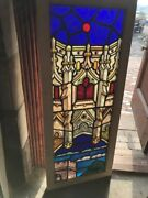 Sg 2542 Antique Painted In Fired Gothic Architecture Stainglass Window 21 X 51