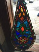 Sg 1092 Antique Painted And Fired Stain Glass Teardrop Window 18 X 39
