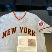 Beautiful Willie Mays Signed 1951 New York Giants Game Model Jersey Jsa Coa