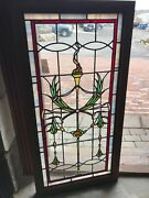 Sg 2711 Antique Stainglass Torch And Wreath Landing Window 22 X 43.25