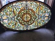Sg3489 Gorgeous Antique Oval Stained Glass Window 25.5 X 41